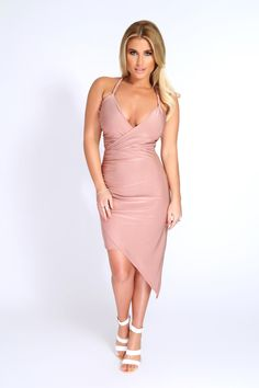 Billie Faiers Twisted Strap Slinky Dress Blush