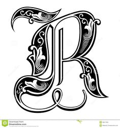 Illustration of Beautiful decoration English alphabets, Gothic style, letter R vector art, clipart and stock vectors. Cool Lettering, Lettering Design, Hand Lettering, Tattoo Painting, Calligraphy Letters, Illuminated Letters, Letter Art, Typography Fonts, Tattoo Fonts