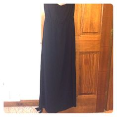 H&M strapless black dress Brand new never worn black dress. High slit. Slip is short so the bottom of the dress is see through (see second picture.) H&M Dresses