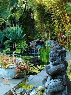 Lush Tropical Garden. / Love the water scene...gives a calming affect.