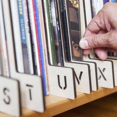 Horizontal A-Z wood Record separators (Stencil) for organizing vinyl LPs, $320