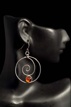 Sterling Silver Amber Closed Spiral Earrings  www.daltondesignsonline.com