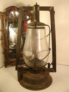 Buhl Antique Lantern Light Tubular No. 2 Kerosene Oil Lamp Original Metal Finish Patina Glass Chimney Shade vintage Rustic Camp Decor