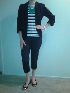 W24Jul13--Black pique 3/4 sleeve blazer (Talbots) over black and white stripe tee (Talbots) over black and white polka dot cropped pant (Talbots) with green and blue bib necklace (Talbots), white and gold tone stretch bracelet (LOFT), gold tone stacked rings (Banana) and gold toe cap flats (Talbots).