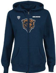 Chicago Bears Majestic Ladies Buttonhook Hooded Sweatshirt - Navy