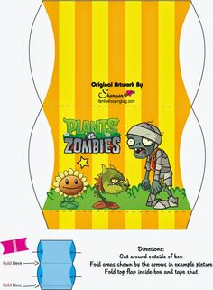 Plantas vs Zombies: Caja Almohada para Imprimir Gratis. Zombie Birthday Parties, Zombie Party, Boy Birthday, Plants Vs Zombies, Party Printables, Free Printables, P Vs Z, Plant Zombie, Kids Party Themes