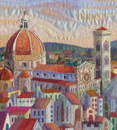"""'A Room with a View"""" an original hand embroidered textile by Rachel Wright. Looking out across the rooftops of Florence towards the Campanile and Duomo."""