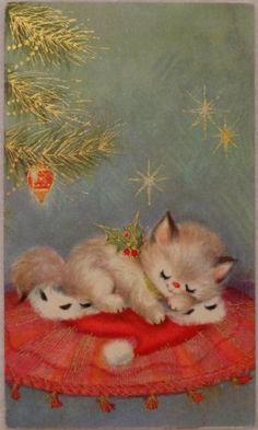 #1575 50s Sweet Sleeping Kitty Cat-Vintage Christmas Greeting Card
