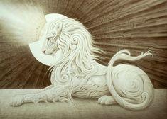 The Royal Dawning · A. Andrew Gonzalez Art Shop · Boutique en ligne Powered by Storenvy Art And Illustration, Fantasy Kunst, Fantasy Art, Sculptures, Lion Sculpture, Modelos 3d, Lion Art, Unusual Art, Visionary Art