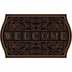 Apache Mills 60-767-1029 Formal Welcome Doormat, 22-Inch by 36-Inch by Apache Mills. $23.99. Available in formal welcome design. Recycled rubber base with flock; non-slip backing. Measures 22-inch length by 36-inch width. This welcome door mat is a masterpiece of form and function. Construction of the surface is designed to trap debris. This welcome door mat is a masterpiece of form and function. Features exciting full color design with built-in channels to provide a two dimen...