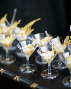 Love these fancy bites served up in mini martini glasses