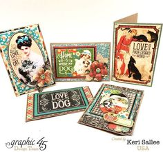 The card set inside Keri's altered Raining Cats & Dogs book box. Love this #graphic45