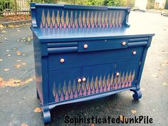 Empire Buffet Sideboard *how to remove old felt lining from antique drawers* and *how to stencil*