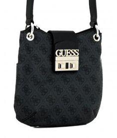 3dd92d507cdf9 Guess Logo Luxe Tourist Umhängetasche Coal schwarz grau Logo. Bags   more