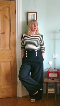 Handmade Jane: Anchors Aweigh! Coco top and sailor trousers