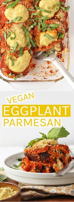 Vegan Eggplant Parmesan - made with two different homemade nut-based cheeses, fresh marinara sauce, and parmesan breaded eggplant for a hearty and delicious dinner the whole family will love. : My Darling Vegan Easy Vegan Dinner, Vegan Dinner Recipes, Vegan Recipes Easy, Veggie Recipes, Whole Food Recipes, Vegetarian Recipes, Cooking Recipes, Vegan Eggplant Parmesan, Vegan Eggplant Recipes