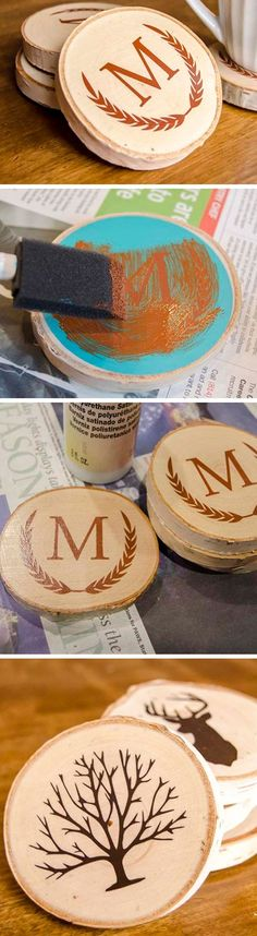 DIY Painted Wood Slice Coasters | DIY Christmas Gifts for Him | Handmade Valentines Gifts for Boyfriends