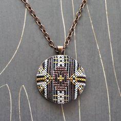 Florence Cross Stitch necklace/ pendant by TheWerkShoppe on Etsy, $44.00