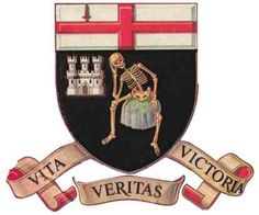 The coat of arms of the Northern Irish city of Derry/Londonderry; the sword and cross are devices of the linked City of London; the castle represents a local keep; the skeleton may signify 'a Norman knight who starved to death in the castle in 1332'. (Heraldry of the World/ngw.nl)