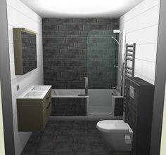 Complete badkamer met keramische houtlook tegels voor meer info http for Modern douche bad