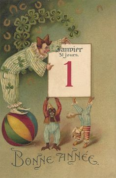 Vintage Postcard - Clown and Monkey