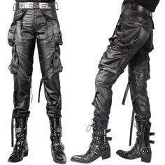 Gray Grey Punk Rock Military Style Casual Pants Clothes for Men