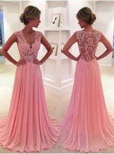 Classic A-Line V-Neck SweepTrain Pink Prom Dress/Evening Dress with Appliques