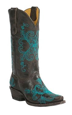 Cavender's by Old Gringo Women's Vintage Chocolate Goat with Turquoise Floral Embroidery Snip Toe Western Boots