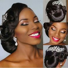 Tiffany 's african wedding hair styles black bride Photo. See the bigger picture! Bride Makeup, Wedding Hair And Makeup, Wedding Updo, Hair Makeup, Makeup Desk, Black Wedding Hairstyles, Bride Hairstyles, Black Women Hairstyles, Black Bridesmaids Hairstyles