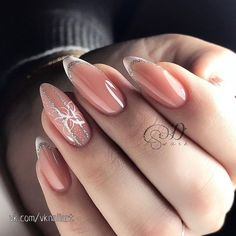 100 trendy new nail art collections worth having - Page 48 of 127 - Inspiration Diary Cute Almond Nails, Cute Nails, Elegant Nails, Stylish Nails, French Nails, Bridal Nail Art, Best Acrylic Nails, New Nail Art, Birthday Nails