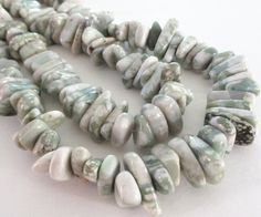 Jasper Beads  Chunky Nugget Beads  Green White by BijiBijoux