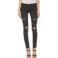 Paige Denim Verdugo Ultra Skinny Jeans ($199) ❤ liked on Polyvore featuring jeans, bottoms, pants, black, denim, ramone destructed, black jeans, black distressed skinny jeans, denim skinny jeans and black destroyed jeans