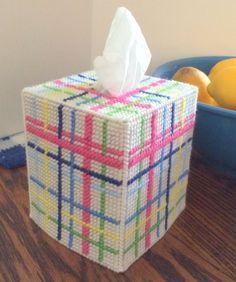 Pastel Plaid Tissue Cover handmade Boutique yarn & plastic canvas  | eBay
