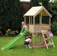 Outdoor-Kids-Wood-Playhouse-Children-Garden-Sandpit-Ladder-Slide-Fun-Play-House