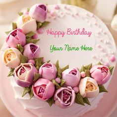 Happy Birthday Delicious Pink Flower Cake With Your NamePrint Name On Beautiful CakeCake NameCustom Text Real
