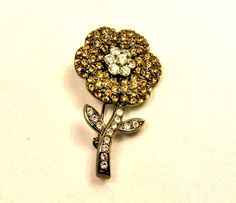 Amber and Clear Pavè Rhinestone  Flower Brooch by imagiLena #pottiteam
