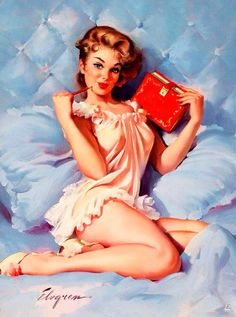 A little 'Dear Diary' before bedtime. Vintage '50s pin-up by Gil Elvgren.