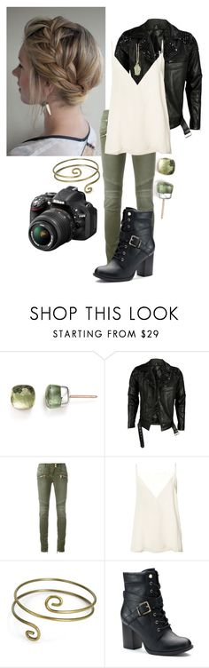 """Do you call yourself a hurricane, just like me?"" by frootloop16 ❤ liked on Polyvore featuring Pomellato, VIPARO, Balmain, Anine Bing, Sweet Romance, Apt. 9, Effy Jewelry and Nikon"