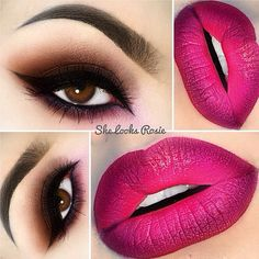 love the combination of a brown smokey eye and burgundy lips