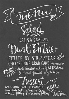 hand lettered menu by makewells