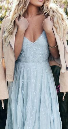 elegant a line prom dress with sequins beads, fashion blue spaghetti straps light blue party dress H0094