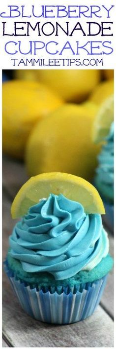 Delicious and fun Easy Homemade from Scratch Blueberry Lemonade Cupcake Recipe great for birthday parties, desserts, picnics, summer barbecues