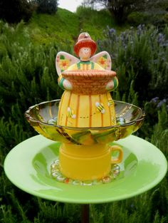 Bee Fairy Garden - Garden Art, Birdfeeder, Upcycled, Repurposed, Garden Totem, Garden Stake, Garden Sculpture, Yard Art, Fairy, Bees