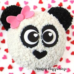 The cutest Panda Bear Cakes are easy to decorate using white and black frosting and modeling chocolate or fondant. Perfect for Valentine's Day, birthday, or a baby shower. Panda Bear Cake, Bolo Panda, Panda Cakes, Bear Cakes, Panda Birthday Cake, Birthday Cake Kids Boys, Adult Birthday Cakes, 3rd Birthday, Birthday Ideas