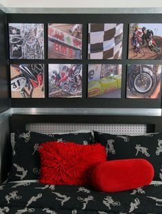 Edgy teen room idea...frame your own prints in a modern layout...!