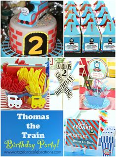 Thomas the Train Birthday Party – Style with Nancy Thomas Birthday Parties, Thomas The Train Birthday Party, Trains Birthday Party, Train Party, Boy Birthday, Birthday Ideas, Third Birthday, First Birthdays, Party Ideas