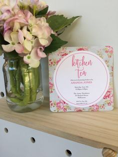 Bridal Shower Invitations, Baby Shower Invitations, Baby Milestone Cards, Bridal Shower Tea, Floral Invitation, Pretty Flowers, Paper Goods, Flower Designs, Kitchen