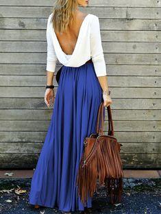Deep blue Long Sleeve Maxi Draped Open Back Dress