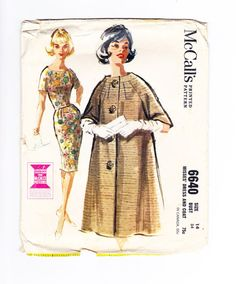 Dress and Coat Sewing Pattern, 1960s Coat, Jacket Pattern, Trench Coat Pattern, McCalls 6640, Bust 34