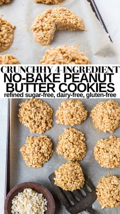 Crunchy 4-Ingredient No-Bake Peanut Butter Cookies made gluten-free, refined sugar-free, dairy-free and healthy! These easy cookies are magically delicious! #glutenfree #healthydessert #cookierecipe #nobake #peanutbutter Gluten Free Cookies, Peanut Butter Cookies, 4 Ingredients, Sugar Free, Cookie Recipes, Dairy Free, Good Food, Baking, Gluten Free Biscuits